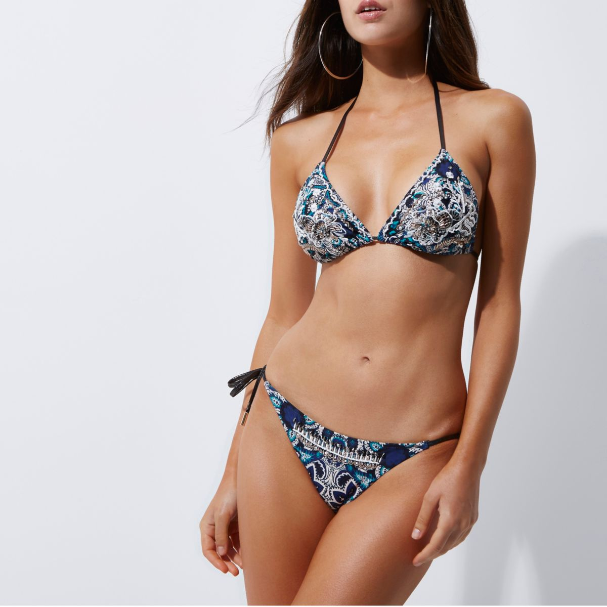 Blue embellished tie side bikini bottoms