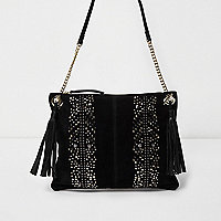 Black suede studded cross body chain bag