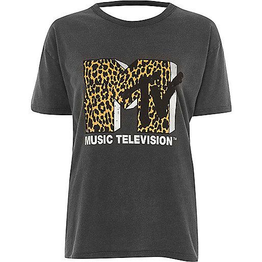Grey washed 'MTV' open back T-shirt
