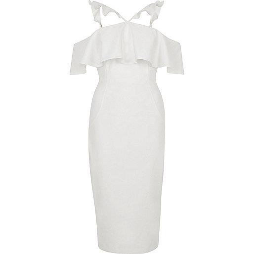 White frill cross neck bodycon midi dress