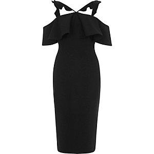 Black frill cross neck bodycon midi dress