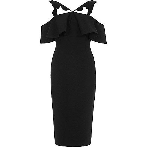 Black frill cross neck bodycon midi dress