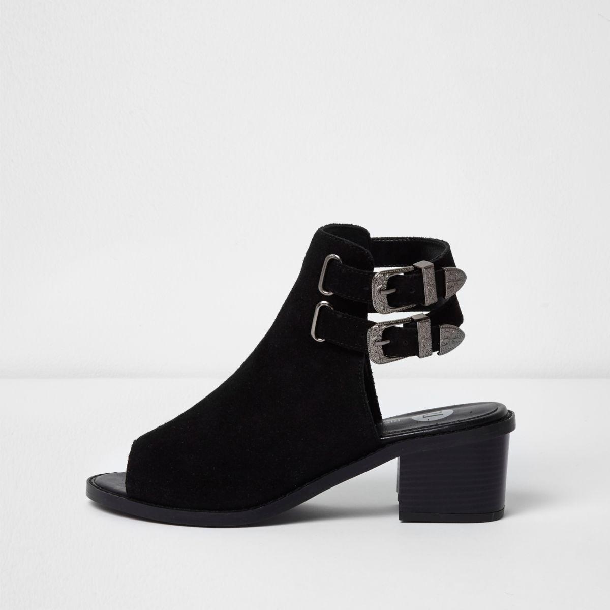 Black suede western style peep toe shoe boot