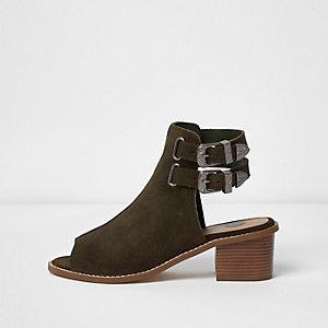 Bottines peep toe en daim kaki style western
