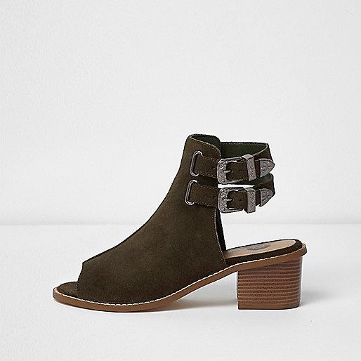 Khaki suede western peep toe shoe boot