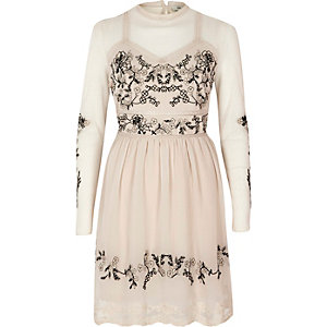 Cream embroidered dobby mesh high neck dress