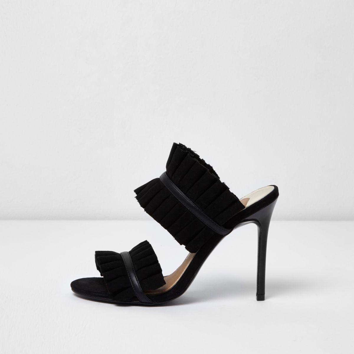 Black ruffle court heel mules
