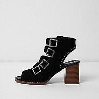 Black multi buckle block heel sandals