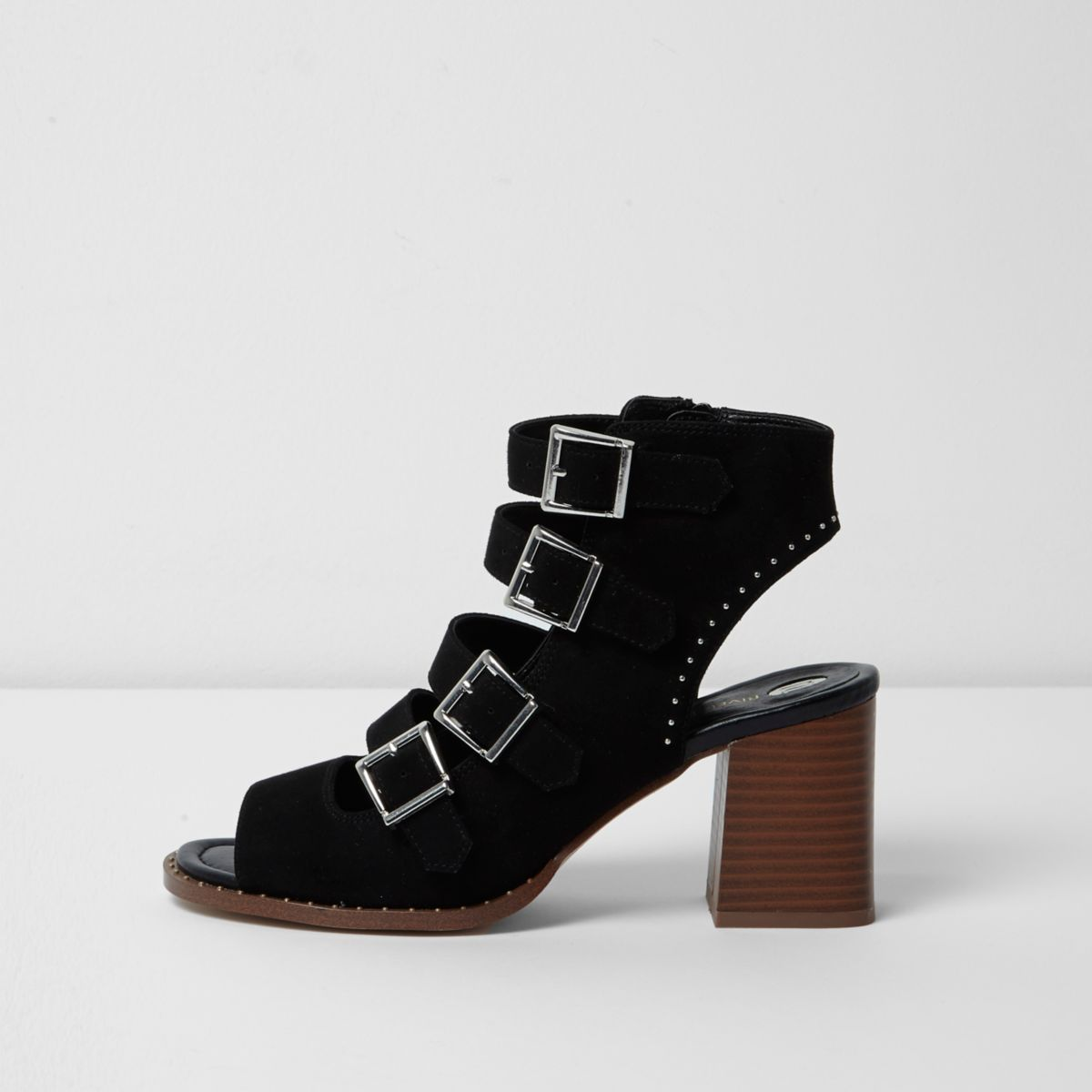 Black multi buckle block heel sandals