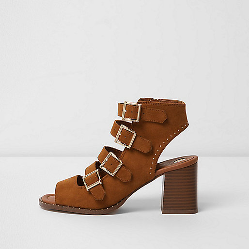 Tan multi buckle block heel sandals