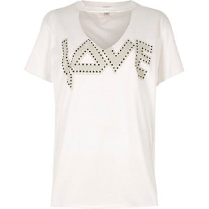White 'love' print choker oversized T-shirt