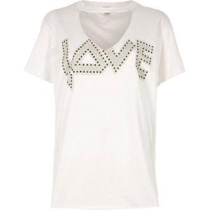 White 'love' print choker oversized T-shirt