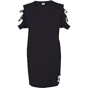 Zwart washed gescheurd oversized T-shirt