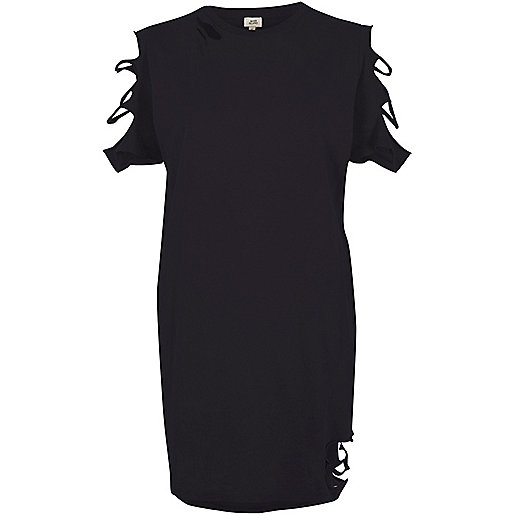 Black washed slashed oversized T-shirt