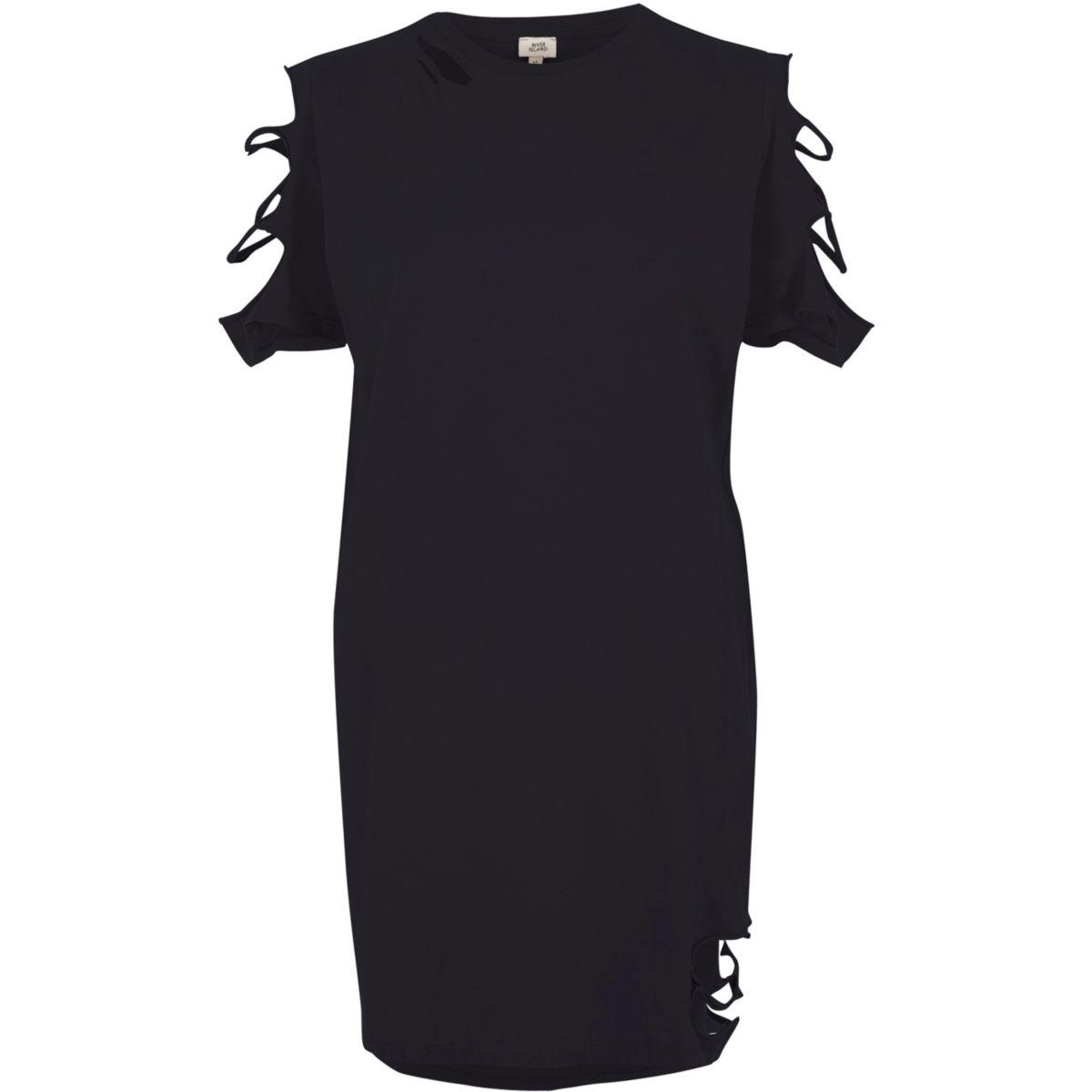 Black washed slashed oversized T-shirt