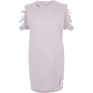 Light purple slashed oversized T-shirt