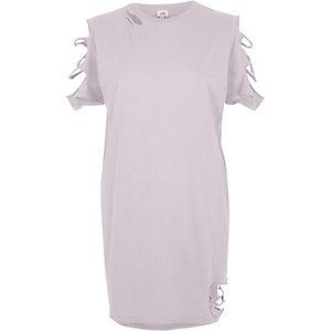 T-shirt oversize violet clair à découpes