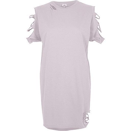 Light purple slashed oversized T-shirt