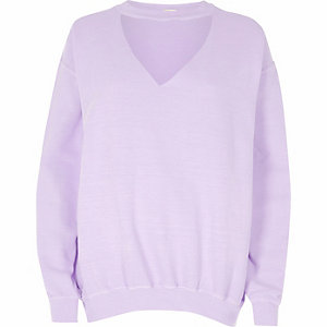 Light purple washed choker neck sweatshirt