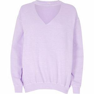 Sweat ras-du-cou violet clair délavé