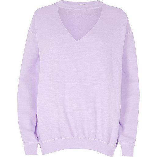 Light purple washed choker neck sweatshirt