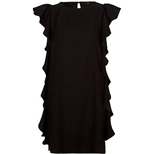 Black frill swing dress