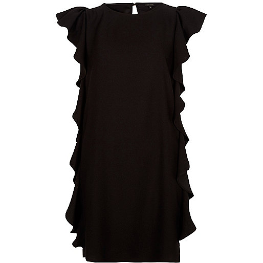 Black frill swing dress