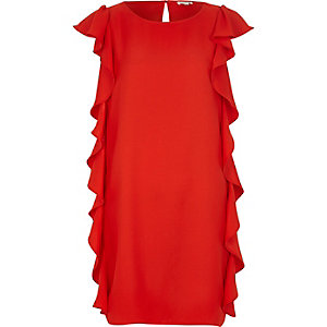 Red frill side sleeveless shift dress