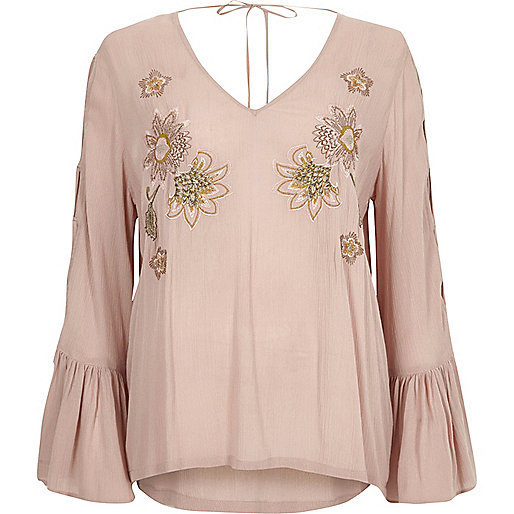 Pink floral embroidered flared sleeve top