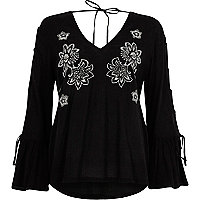 Black floral embroidered tie sleeve top