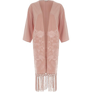 Light pink emboidered tassle kimono