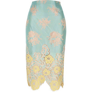 Light green lace midi pencil skirt