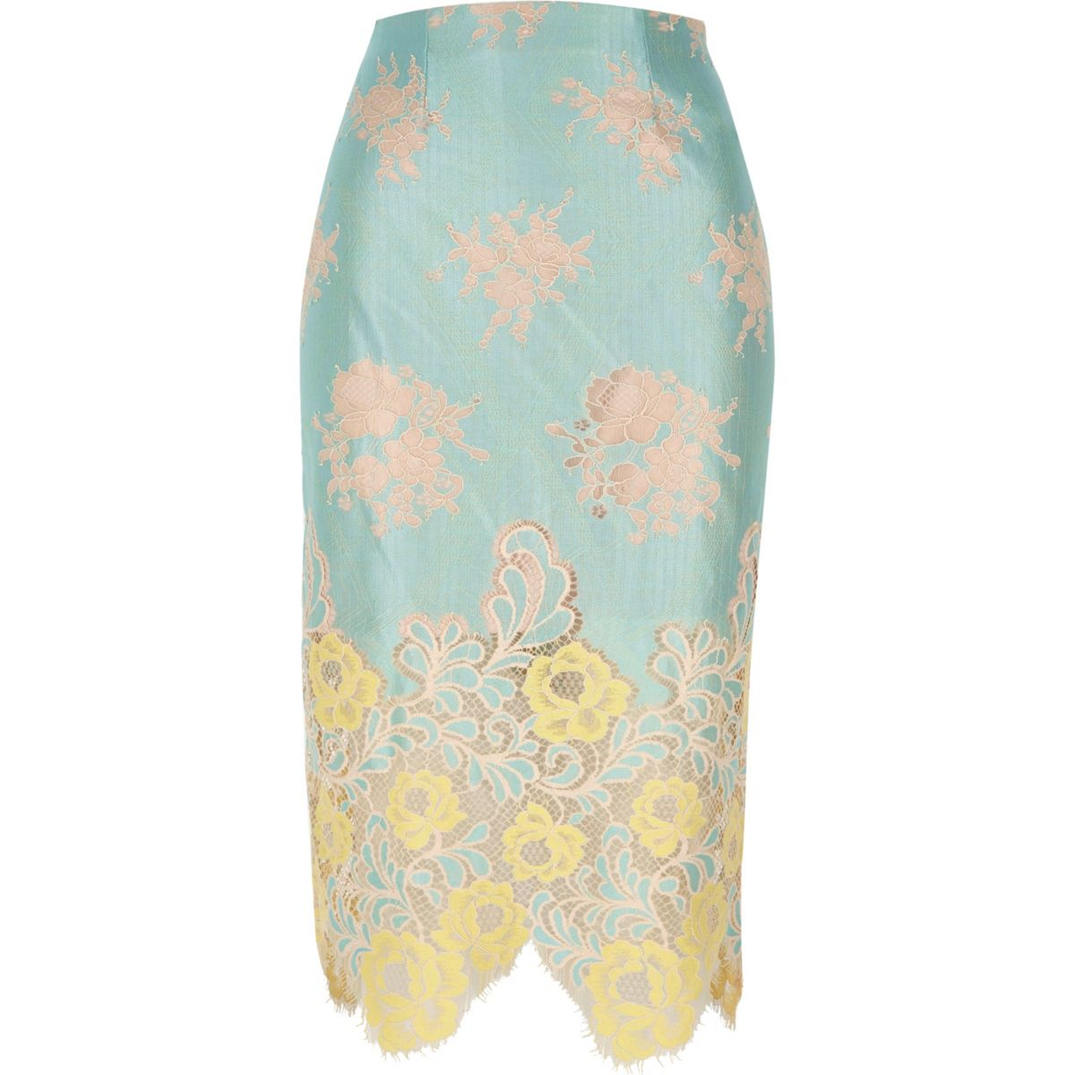 Light green lace midi pencil skirt