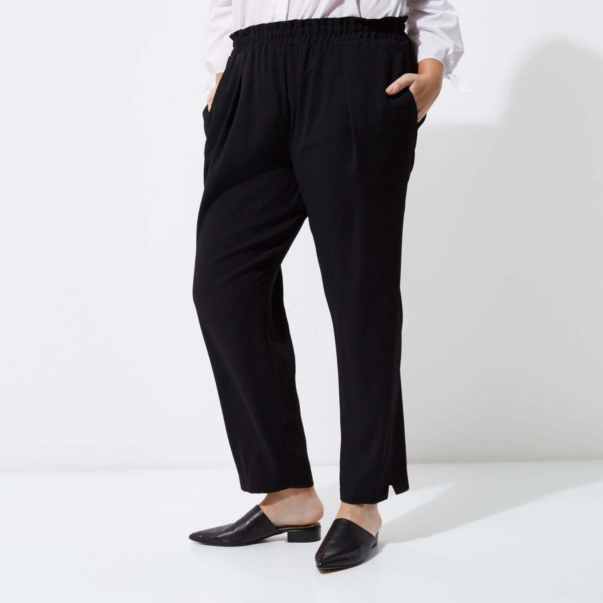 Plus black tapered trousers