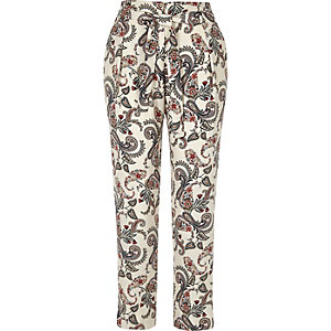 White paisley print tie waist pants