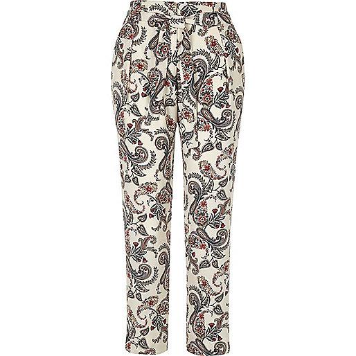 White paisley print tie waist trousers