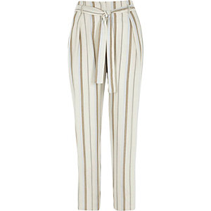 Beige stripe print tie waist tapered trousers