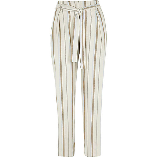 Beige stripe print tie waist tapered trousers