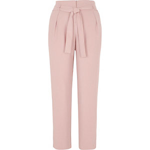 Cream tie waist tapered trousers