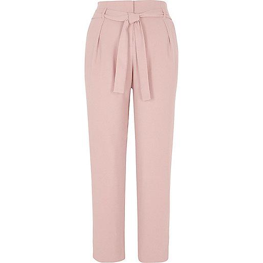 Cream tie waist tapered trousers