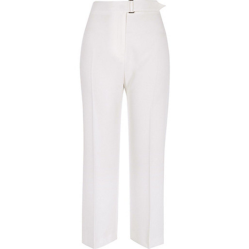 White buckle waist pants