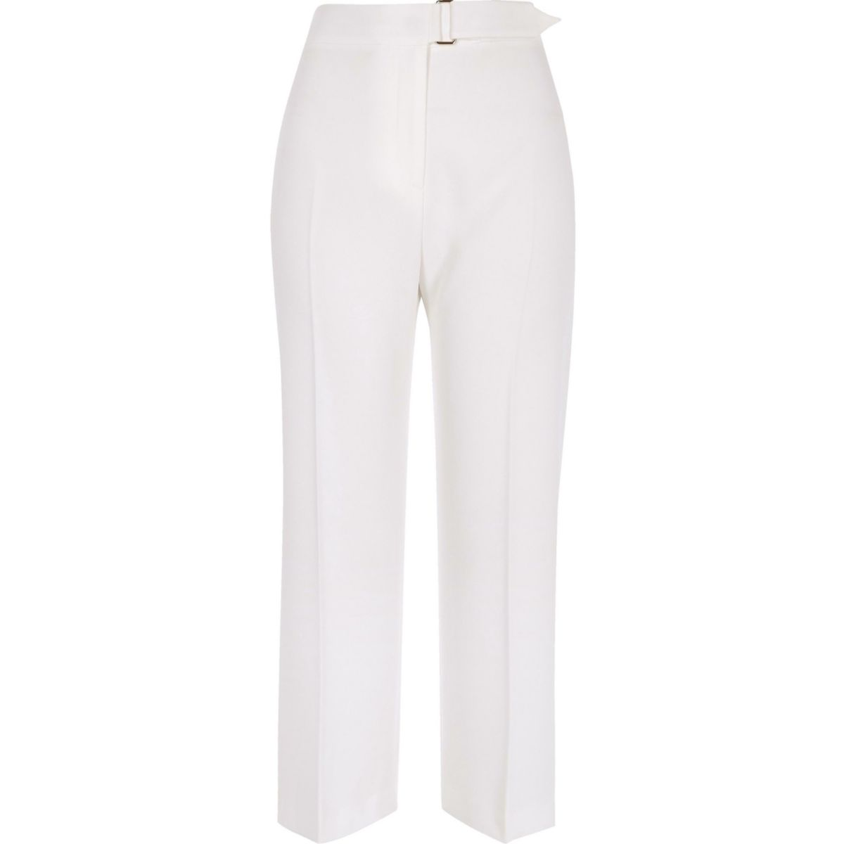 White buckle waist trousers
