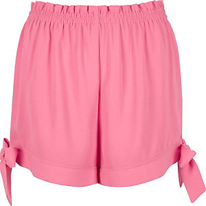 Pink tie hem shorts