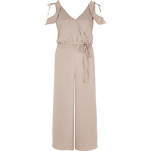 Light pink cold shoulder culoutte jumpsuit