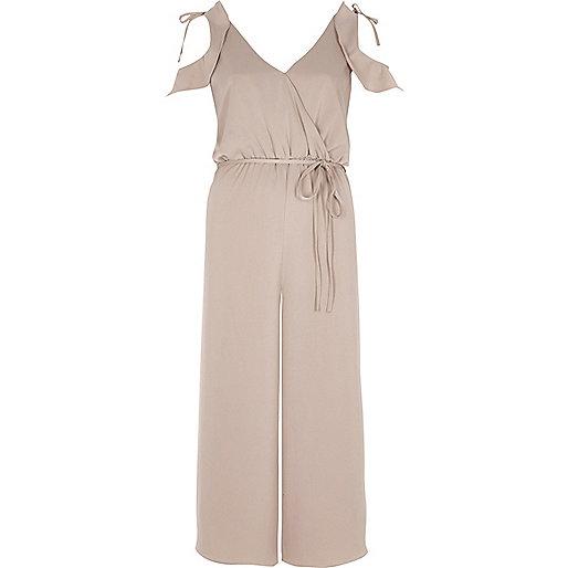 Light pink cold shoulder culoutte jumpsuit