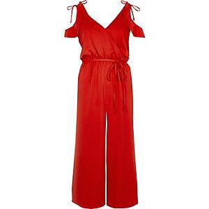 Red cold shoulder culotte jumpsuit