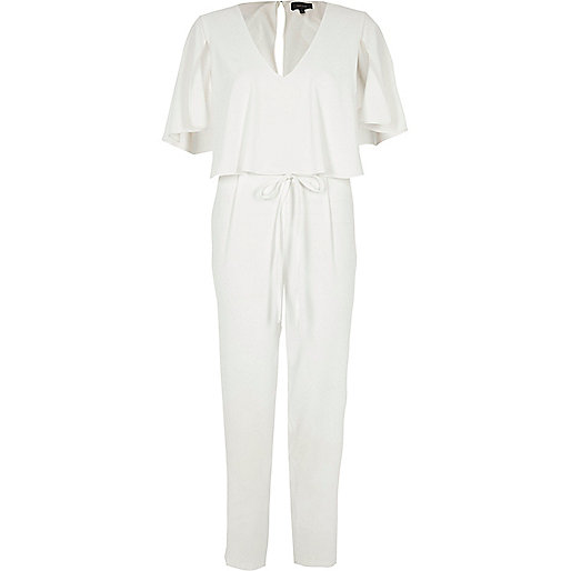 White cape tapered leg jumpsuit