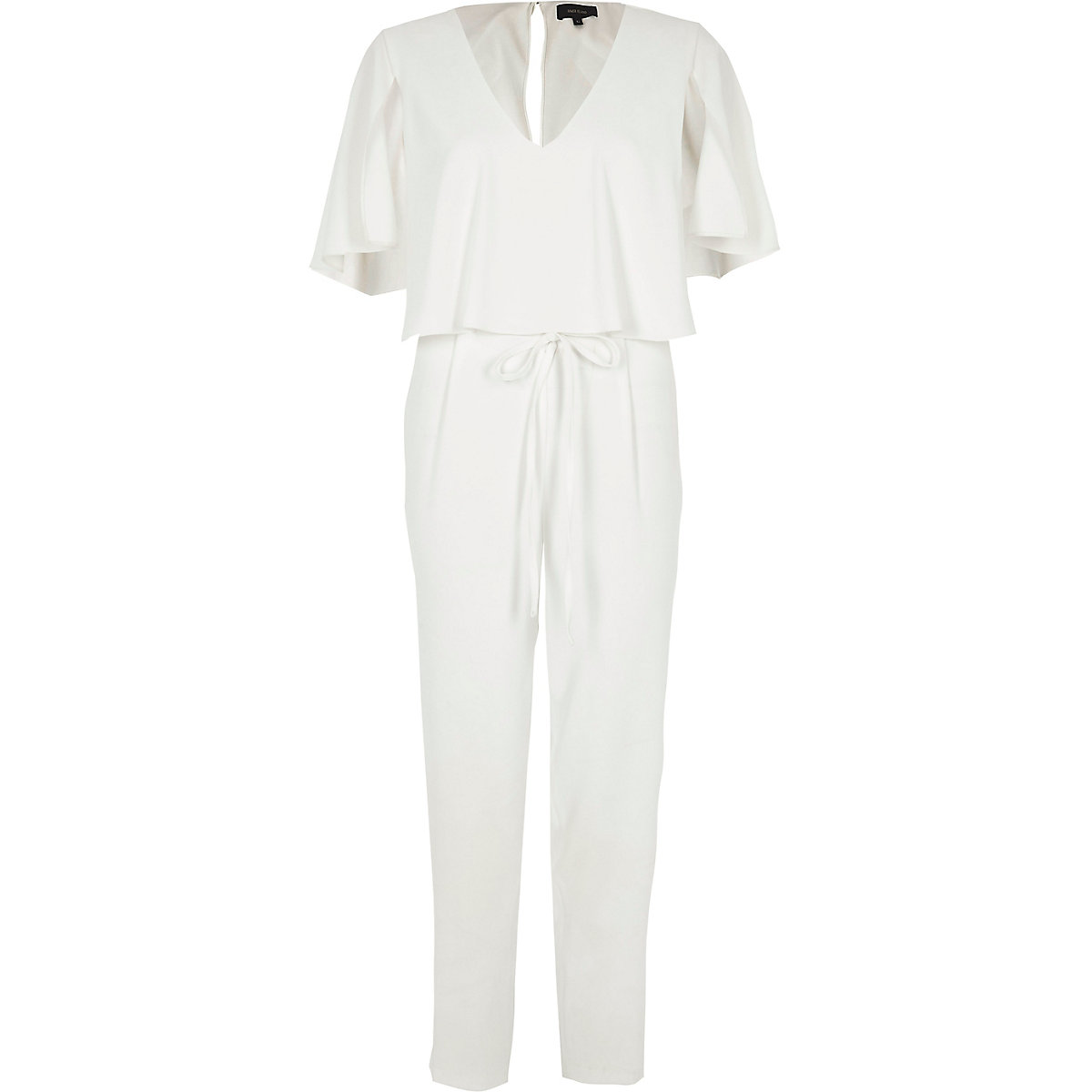 new arrival c346a cda86 White cape tapered leg jumpsuit