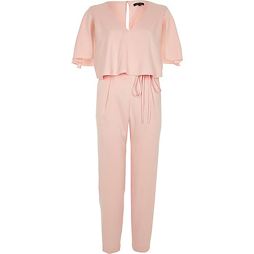 Light pink cape tapered jumpsuit