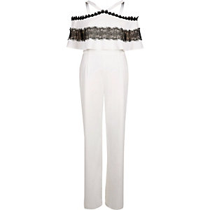 White bardot lace insert wide leg jumpsuit